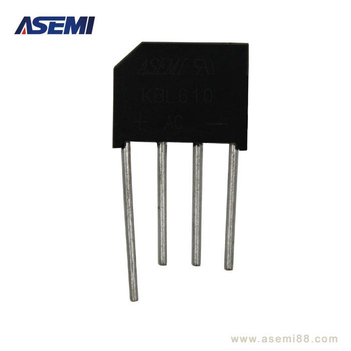 台产ASEMI正品原装KBL610最大整流电流:6A;最大整流电压:1000V;正向压降:1.1V;漏电流:5uA。 台产ASEMI正品原装KBL610主要应用于小电流领域产品:小功率开关电源,充电器,电源适配器,LED灯整流器等相关电器产品。本产品原装正品,质量保证,高稳定性和可靠性,欢迎咨询取样测试。              深圳市强元芯电子有限公司是一家集科研、开发,制造、销售为一体的高新技术企业。12年专注于整流桥及肖特基二极管的研发与生产,致力于半导体行业,专注电源领域, 我们始终秉持产品
