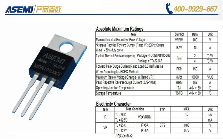 MBR10100CT其芯片及封装材料 MBR10100CT采用的是进口俄罗斯米克朗芯片,军工级的生产工艺,让芯片的性能更为优越,在稳定性,耐热性及抗冲力方面有更为出色,其无氧铜框架令产品的导电性能非常用良好,而塑封用的环保黑胶,气密性良好,导热性优良,令产品工作时的散热效果非常好,以上优势使产品长久稳定的工作。  ASEMI肖特基产品外销海外 如今ASEMI肖特基已远销海外,出口欧美,通过大陆ISO9001认证,SGS环保测试,美国(UL)安规认证,欧盟ROSH绿色环保认证。形式成ASEMI整流桥,ASE
