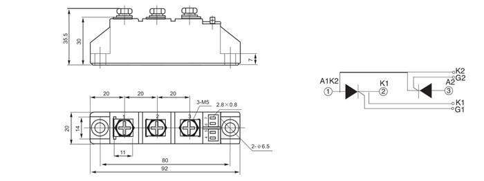 三相整流桥内部结构及作用 由6支二极管构成的三相桥式整流电路,交流侧有控制主回路通断的接触器。由6支晶闸管构成的三相桥式整流电路,晶闸管只用于控制通断不控制直流电压的大小。三相整流桥由三对反串联的二极管并联组成,使用三相电压,三相整流桥的作用是将交流电整流成为直流电。 三相整流桥的电路画法 三相整流桥的电路图画法是:由三路电路并联,每路两颗芯片串联并由两颗芯片中间接入旁路作为三相三端输入,三组电路统一输出端等电位连接为该三相整流桥的正极,三组电路统一输入端等电位连接为该三相整流桥的负极,具体电路图如下所示
