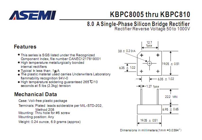 ASEMI教你辨别整流设备KBPC810,从技术参数规格书开始!