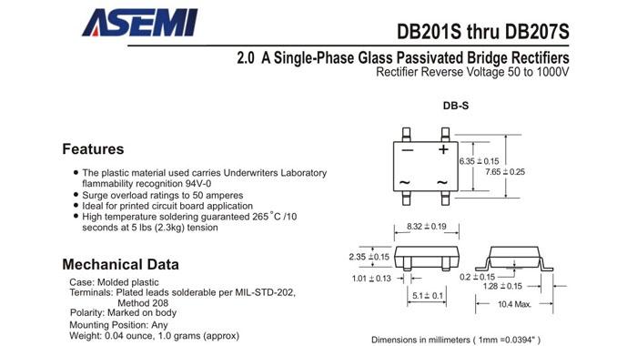 应用市场:手机充电器,led灯具等   db207s贴片整流桥
