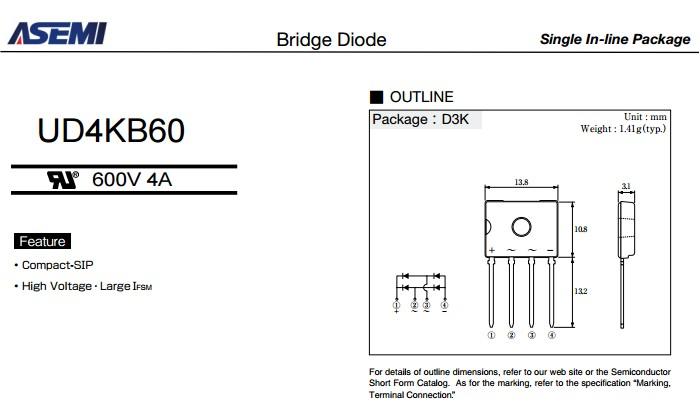 稀缺件UD4KB60【ASEMI迷你插件整流桥】规格书