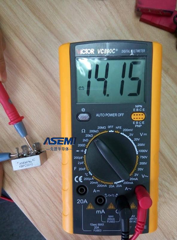 万用表测量ASEMI整流桥好坏的方法!完整图解步骤!