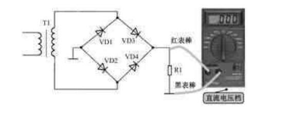 (1)如图9-30所示是测量这一整流电路输出端直流电压时接线示意图。对于正极性桥式 整流电路。红表棒接两只整流二极管负极相连接处。如果测量结果没有直流输出电压,再 用万用表欧姆档在路测量VD1和VD2正极相连接处的接地是不是开路了。如果这一接地没 有开路,再测量电源变压器次级线圈两端是否有交流电压输出。