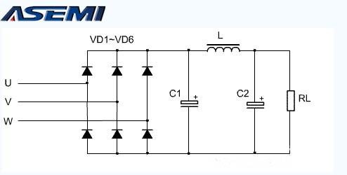 ASEMI三相六个二极管与单相四个二极管整流桥原理区别