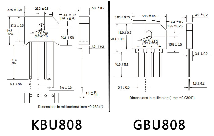 台湾ASEMI品牌GBU808跟KBU808整流桥两款都是采用了95MIL玻璃钝化工艺制作用 的GPP芯片,经过了拉晶、晶棒加工、晶圆切片、晶圆磨边、化学研磨、镜面抛光、沟 槽蚀刻、检测电性等环节。在品质工艺上是使用的健鼎一体化自动生产线设备,全程 工艺由电脑控制,台ASEMI半导体作为进口整流桥的典型代表,自台湾成立之初就深受 广大电源用户的青睐。